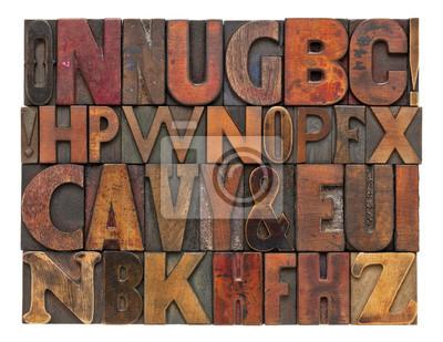 Antike lettepress Holzart Alphabet