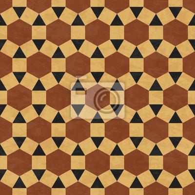 Antike Marmorboden Fliesen Braun Abstrakte Geometrische Muster