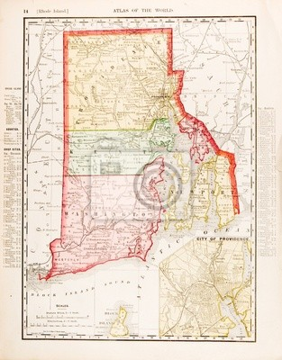 Antike vintage color map of rhode island, ri, usa fototapete ...