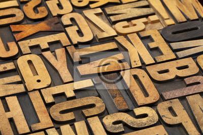 antikem Holz Alphabet abstrakt