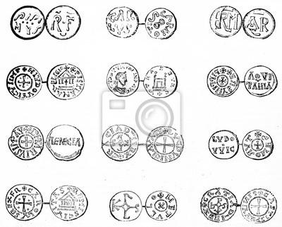 Fototapete Antiker Satz Französische Münzen Lokalisiert Auf Weißem Hintergrund