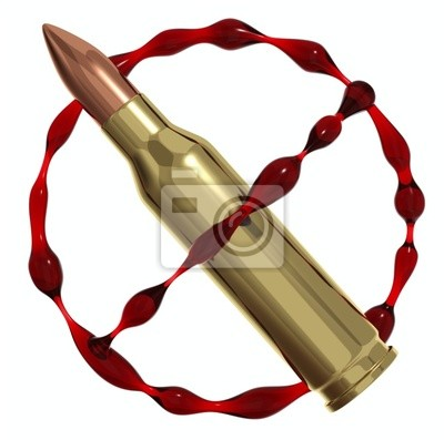 Fototapete Antikriegssymbolvon Kugeln und Blut. 3d