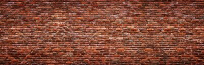 Fototapete Antique brick wall, panoramic view. Grunge stone texture.