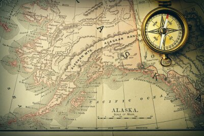 Fototapete Antique Kompass über alte Karte XIX Jahrhunderts