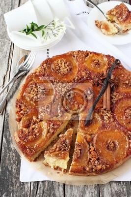 Apfel Walnuss Karamell Kuchen Mit Braunem Zucker Und Zimt