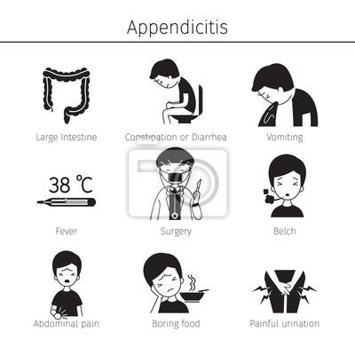 Appendizitis symptome icons set, monochrom, anhang, interne organe ...