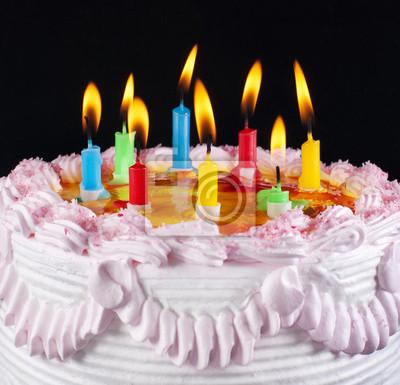 Appetitlich Urlaub Kuchen Mit Den Leichten Bunten Kerzen Fototapete