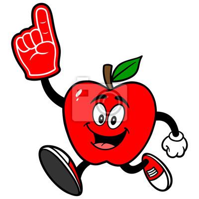 Apple-Laufen mit Schaum-Finger