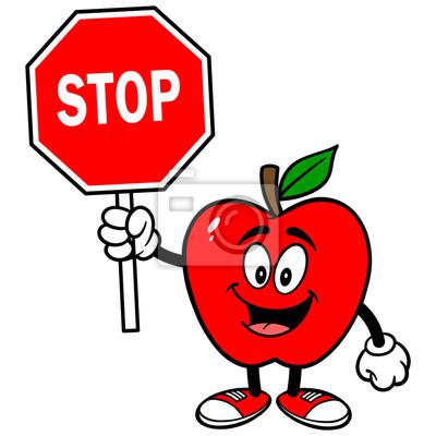 Apple mit Stop-Schild