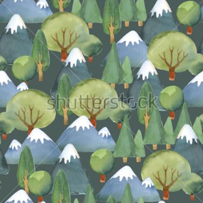 Fototapete Aquarell Abbildung. Nahtloses Muster des flachen Baumsatzes und der blauen Berge auf dunklem Hintergrund