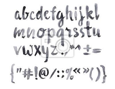 Aquarell Aquarell Schriftart handschriftliche Hand gezeichnet doodle ABC Alphabet Kleinbuchstaben