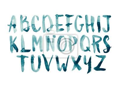 Aquarell aquarelle Schriftart handschriftliche Hand gezeichnet doodle ABC Alphabet Großbuchstaben.