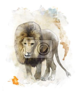 Aquarell-Bild des Gehens Lion