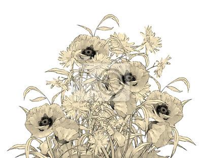 Aquarell Bleistift Hand Zeichnung Blumen Fototapete Fototapeten