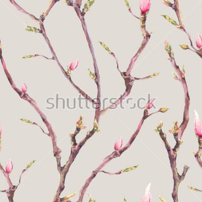 Fototapete Aquarell-Blumenfrühlings-nahtloses Muster, Weinlese-blühende Baumaste, Zweige, Blumen und Blätter, botanische Aquarellillustration auf grauem Hintergrund