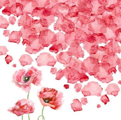 Fototapete Aquarell Blütenblätter einer Mohnblume