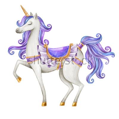 Fototapete Aquarell-Einhornillustration, Märchengeschöpf, purpurrotes blaues lockiges Haar, mythische Tierclipart, lokalisiert auf weißem Hintergrund