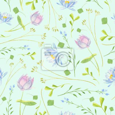 d49f1104f7fe Fototapete Aquarell Feuchtgebiet Blumenmuster mit blauen und lila Lotus  Vergissmeinnicht und grünen Schilf See Pistia Wasserkastanie