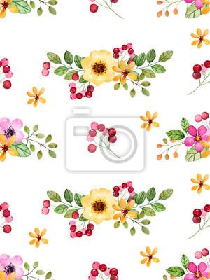 Fototapete Aquarell Floral Nahtlose Muster Mit Bunten Blumen, Blätter,  Beeren. Floral Floral Texture
