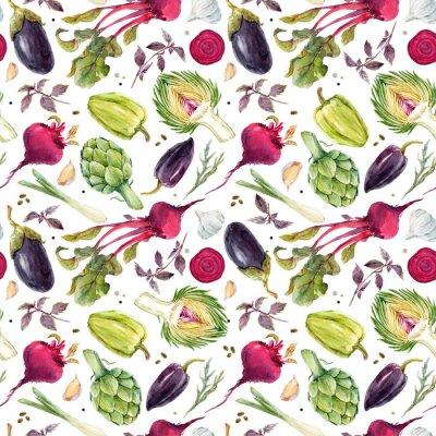 Fototapete Aquarell Gemüse Muster