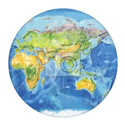 Indonesien Karte Physisch.Fototapete Aquarell Geographische Karte Der Welt Physische Karte Der Welt
