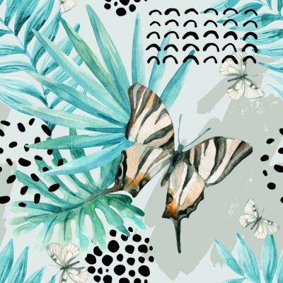 Fototapete Aquarell grafische Darstellung: exotische Schmetterling, tropische Blätter, doodle Elemente auf Grunge Hintergrund.