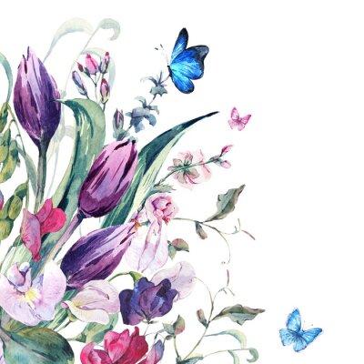 Fototapete Aquarell-Gruß-Karte mit süßen Erbsen, Tulpen