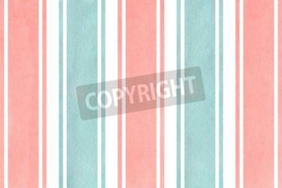 Fototapete Aquarell hellrosa und blau gestreiften Hintergrund. Aquarell-geometrisches Muster