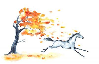 Aquarell Herbst Baum Mit Roten Blattern Und Grau Galoppierenden