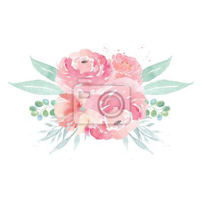 Aquarell Hochzeit Blumen Aquarell Pfingstrosen Und Blatter
