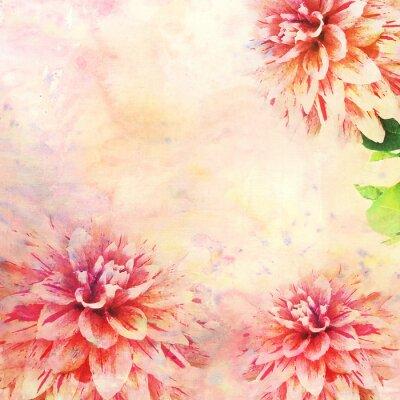 Fototapete Aquarell-Illustration von floralen Thema