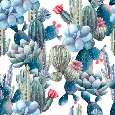 Fototapete Aquarell-Kaktusmuster