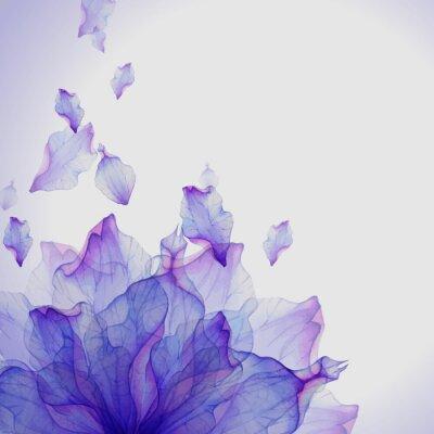 Fototapete Aquarell-Karte mit lila Blütenblatt