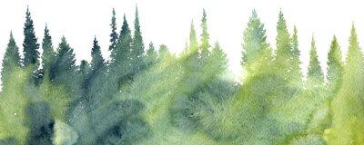 Fototapete Aquarell Landschaft mit Bäumen