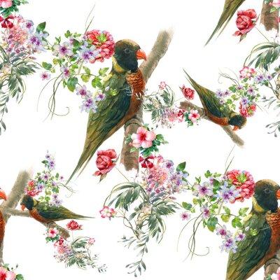 Fototapete Aquarell Malerei mit Vögeln und Blumen, nahtlose Muster auf weißem Hintergrund