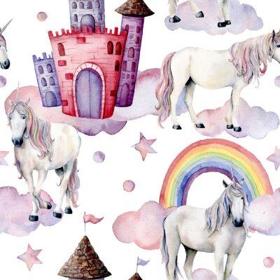 Fototapete Aquarell Märchen-Muster mit Einhörnern. Handgemalte magische Pferde, Schloss, Regenbogen, Wolken, Sterne getrennt auf weißem Hintergrund. Nette Tapete für Design, Druck oder Hintergrund.