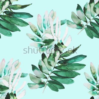 Fototapete Aquarell Pflanzen Illustration Muster