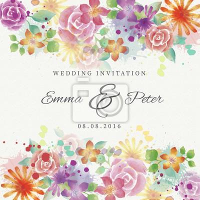 Fototapete Aquarell Schöne Blumen Hochzeit Einladung