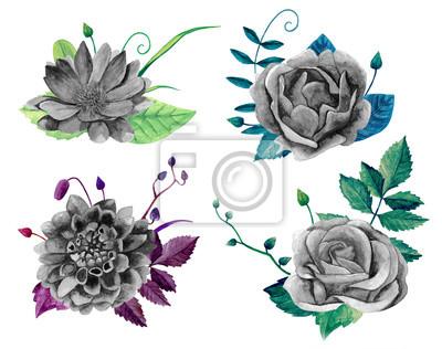Aquarell Schwarz Weiss Blumenstrauss Boho Chic Blumen Clipart