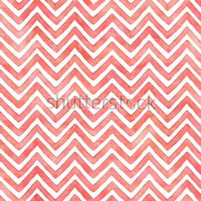Fototapete Aquarell-Sparrenmuster des Flamingos rosa