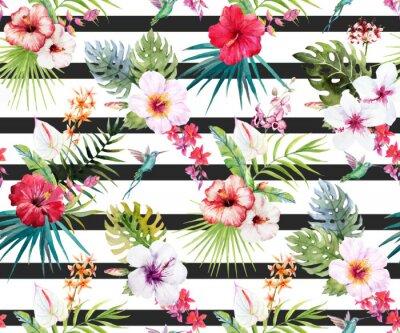 Fototapete Aquarell tropischen Blumenmuster