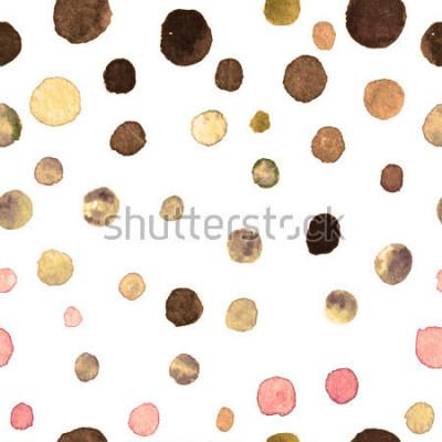 Fototapete Aquarell Tupfen nahtlose Muster. Textilien, Fliesen, Tapeten, Einwickeldruck. Postkarte, Banner oder abstrakten Hintergrund. wiederholtes Muster mit farbigen Punkten unregelmäßiger Form