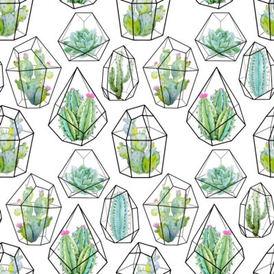 Fototapete Aquarell-Vektor-Kaktus-Muster