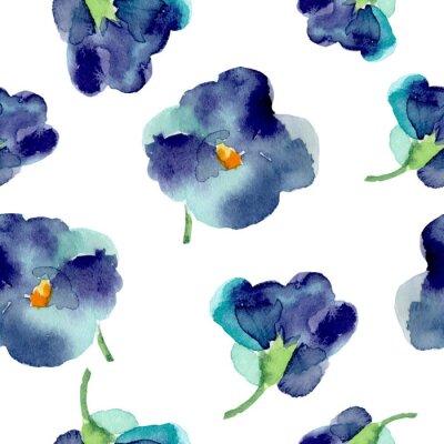 Fototapete Aquarell von violetten Blüten nahtlose Muster.