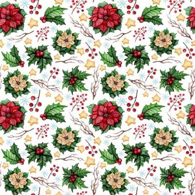 Fototapete Aquarell Weihnachten Nahtlose Muster mit Poinsettia, Sterne und Stechpalme