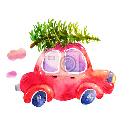 Auto Weihnachtsbaum.Fototapete Aquarell Winter Retro Auto Mit Weihnachtsbaum Illustrationen