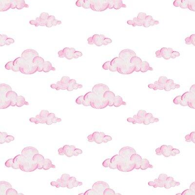 Fototapete Aquarellbabyduschenmuster. Rosafarbene Wolken auf dem weißen Hintergrund. Für Design, Druck oder Hintergrund
