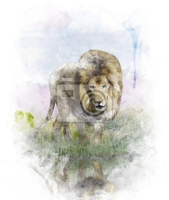 Aquarellbild Löwe