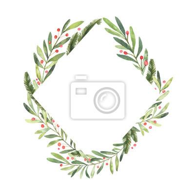Frohe Weihnachten Rahmen.Fototapete Aquarellillustration Bereit Weihnachten Rahmen Zu Verwenden