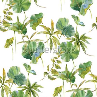 Fototapete Aquarellillustration des Blattes, nahtloses Muster auf weißem Hintergrund